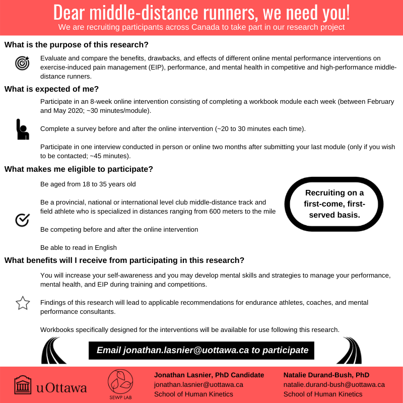 Are you a Middle-Distance Runner and would like to be part of an exciting research project?